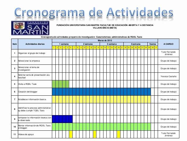 Cronogramas De Actividades En Excel Inspirational Presentación Cronograma De Actividades
