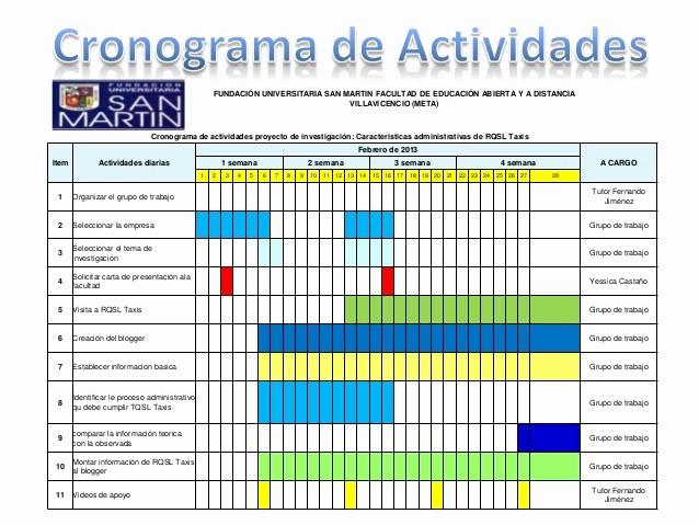 Cronogramas De Actividades En Excel Lovely Presentación Cronograma De Actividades