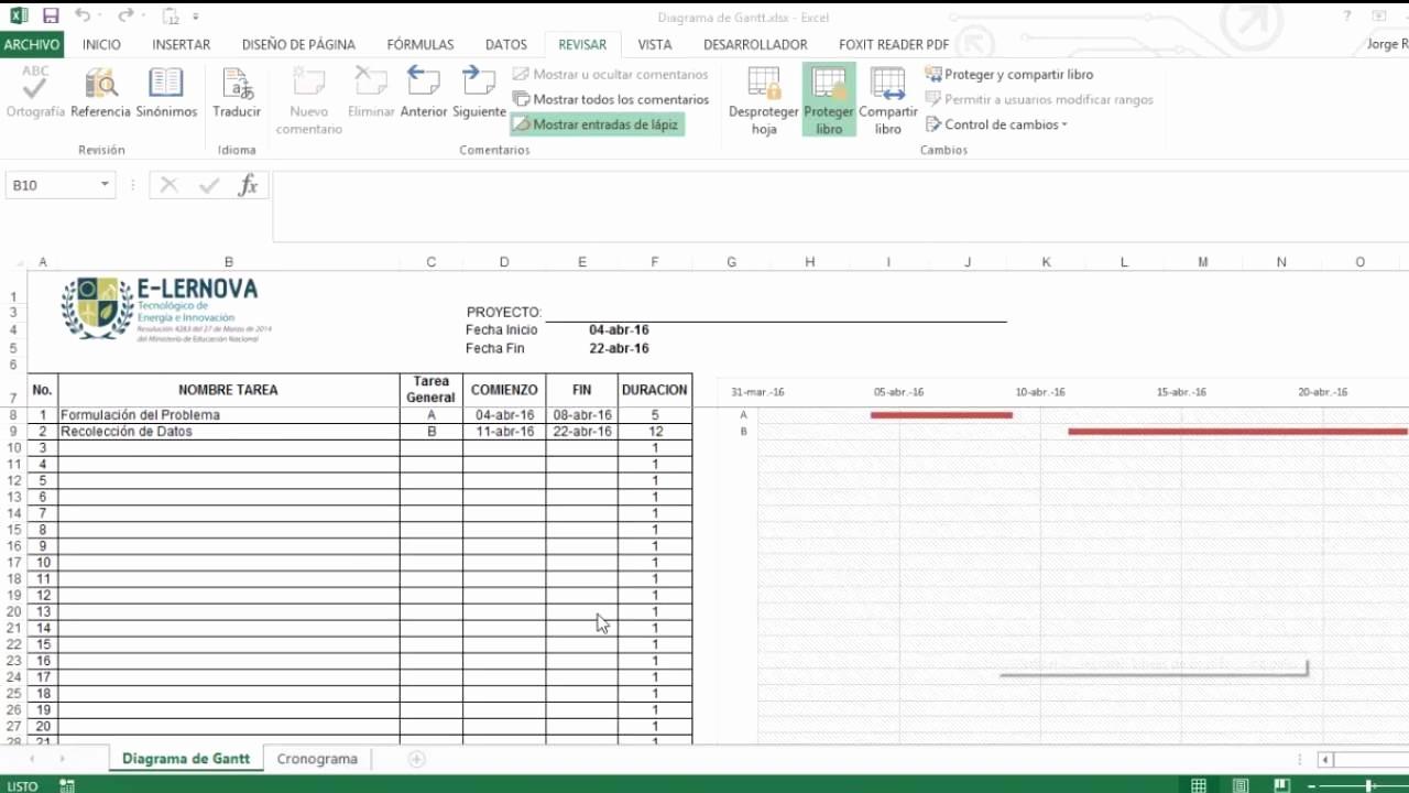 Cronogramas De Actividades En Excel New Creación De Un Cronograma De Actividades Mediante Un