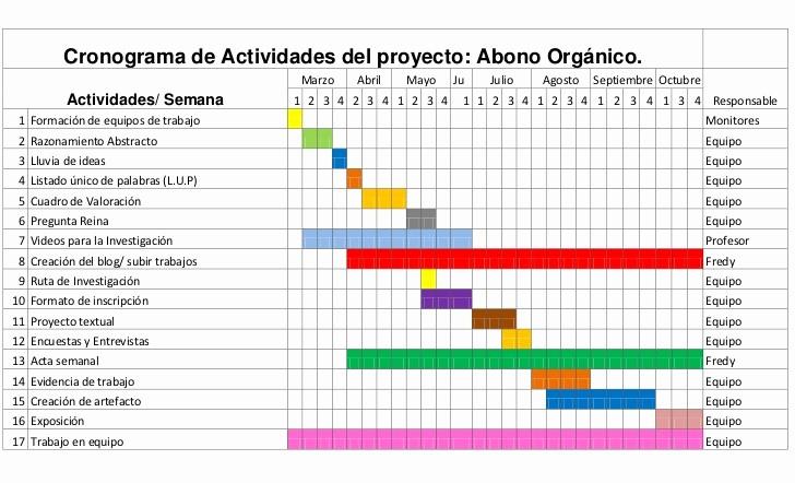 Cronogramas De Actividades En Excel New Cronograma De Actividades