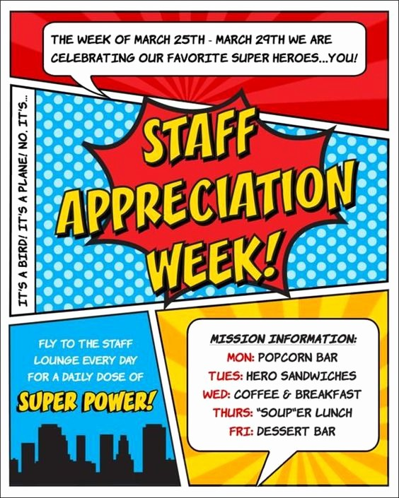 Customer Appreciation Day Flyer Template Lovely Employee Appreciation Day Template Superhero themed Staff