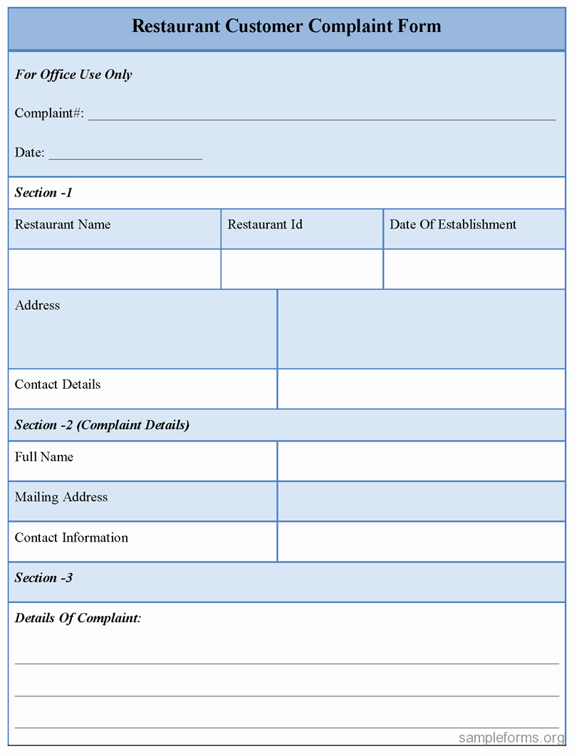 Customer Complaint Template for Excel Beautiful Restaurant Customer Plaint form Sample forms