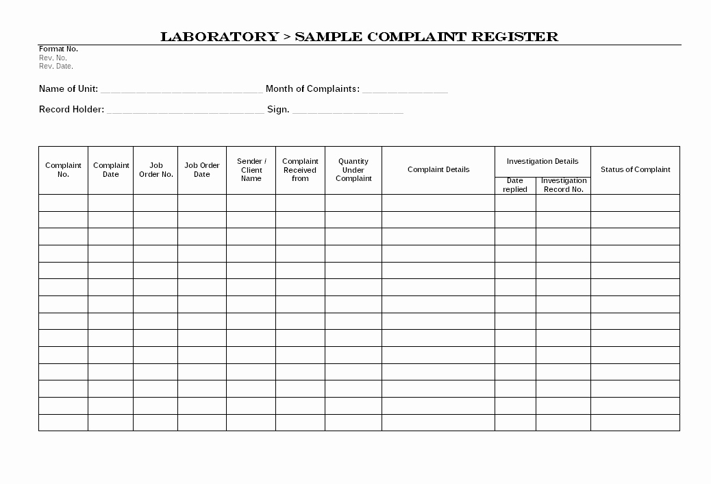 Customer Complaint Template for Excel Best Of Laboratory Sample Plaint Register