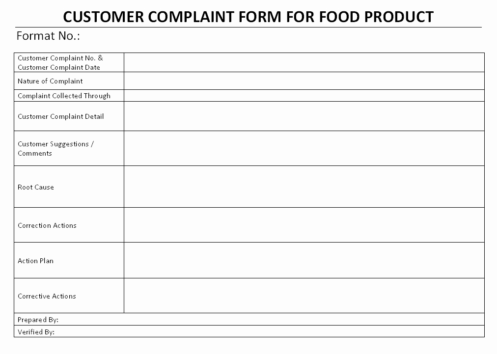 Customer Complaint Template for Excel Elegant Food Products Customer Plaint form