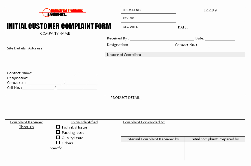 Customer Complaint Template for Excel Fresh Initial Customer Plaint form format