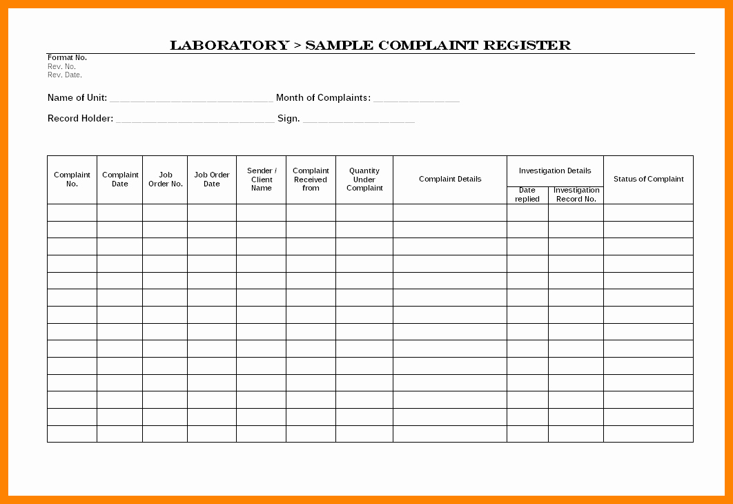 Customer Complaint Template for Excel Fresh Plaints Register Template Excel How to Keep A Customer