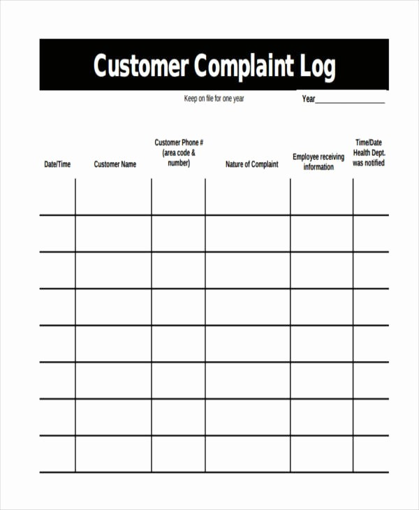 Customer Complaint Template for Excel Lovely 34 Sample Log Templates