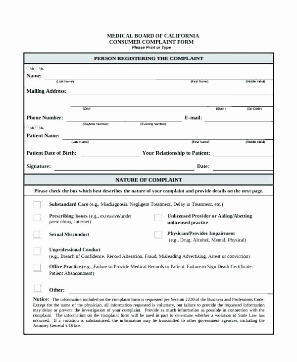 Customer Complaint Template for Excel Lovely Business Information form Template Templates Customer