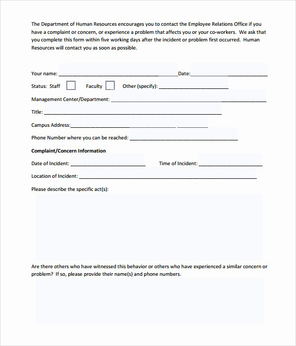 Customer Complaint Template for Excel New Customer Plaint form Template Word Templates Data