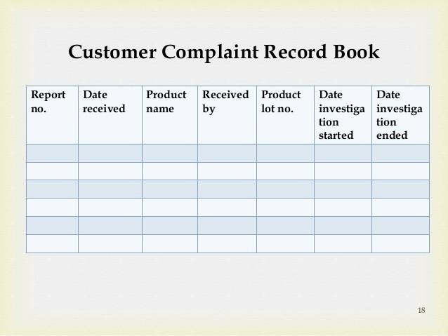 Customer Complaint Template for Excel Unique Customer Plaint Log form