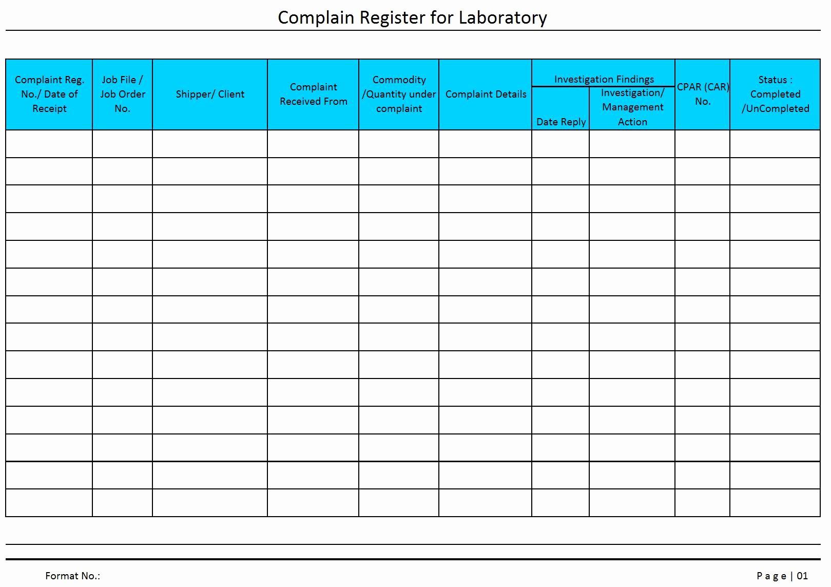 Customer Complaint Template for Excel Unique Plaint Register for Laboratory