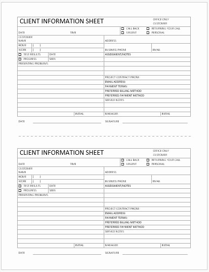 Customer Contact Information form Template Awesome Business format Client Information Sheet