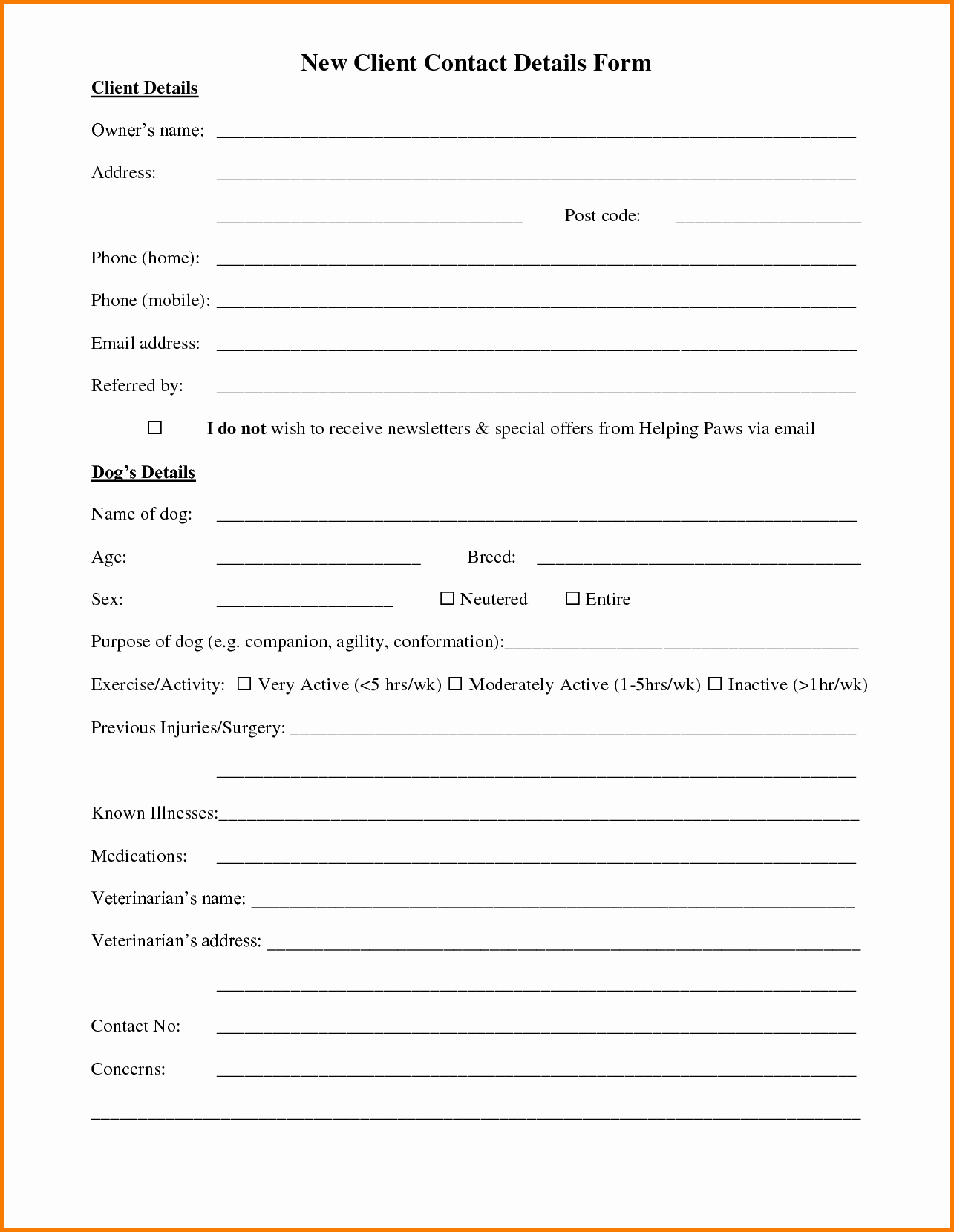 Customer Contact Information form Template Awesome Customer Information form Template