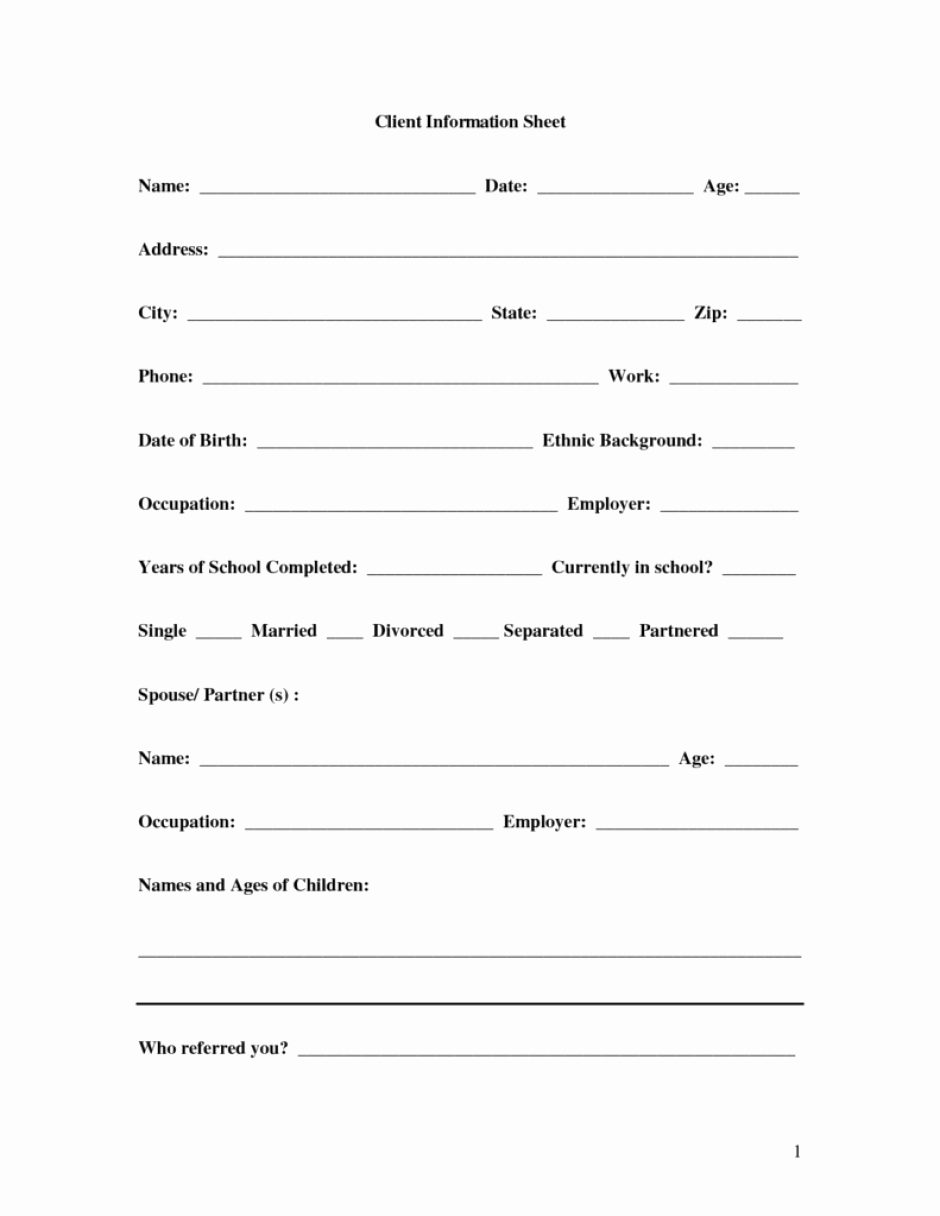 Customer Contact Information form Template Beautiful 8 Client Information Sheet Templates Word Excel Pdf formats