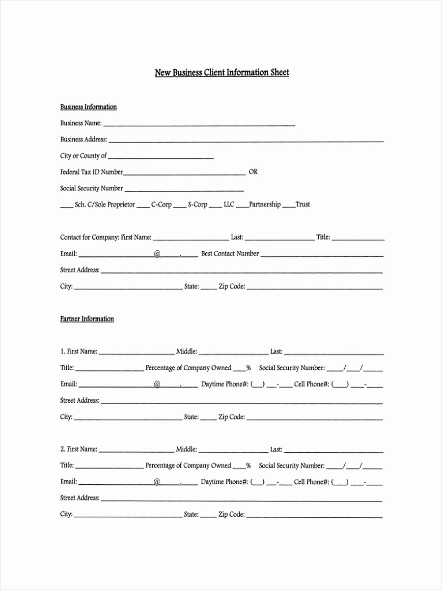 Customer Contact Information form Template Inspirational 13 Examples Of Client Information Sheets