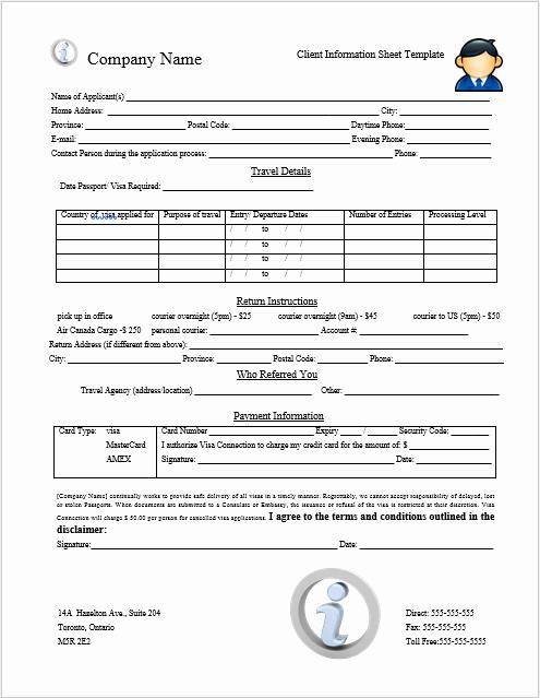 Customer Contact Information form Template Inspirational Client Information Sheet Template