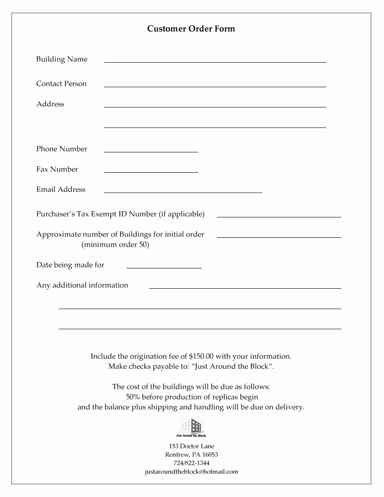 Customer Contact Information form Template Inspirational Customer Information and order form
