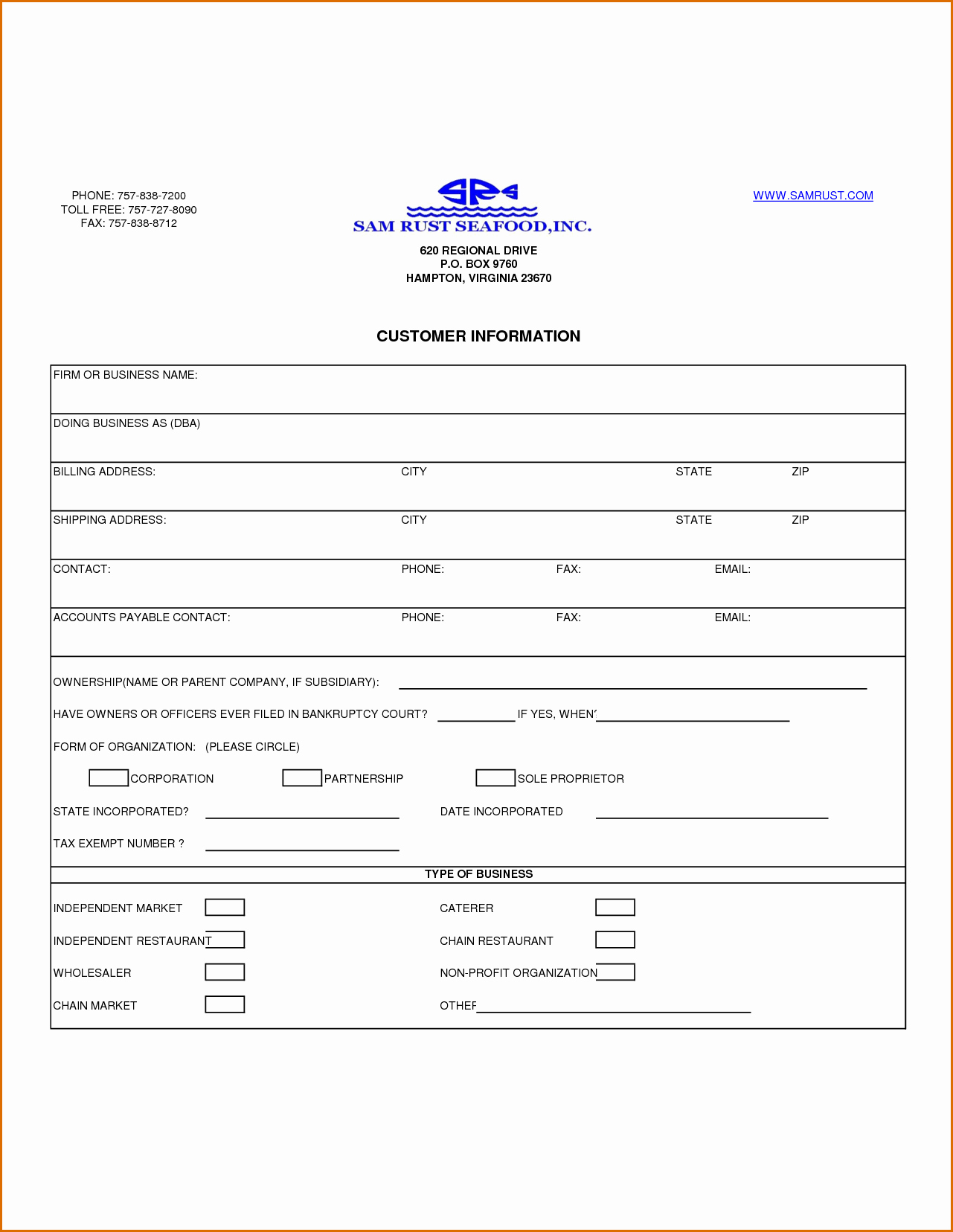 Customer Contact Information form Template Luxury 13 Customer Information form Template