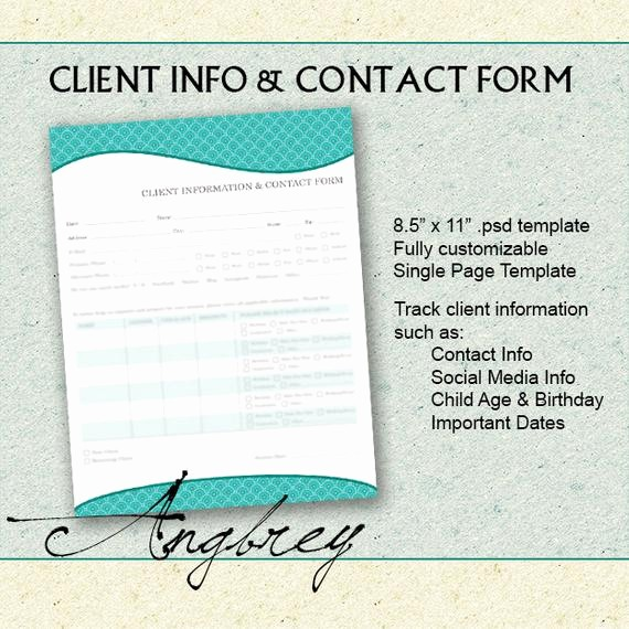 Customer Contact Information form Template New Client Info & Contact form for Graphers Client