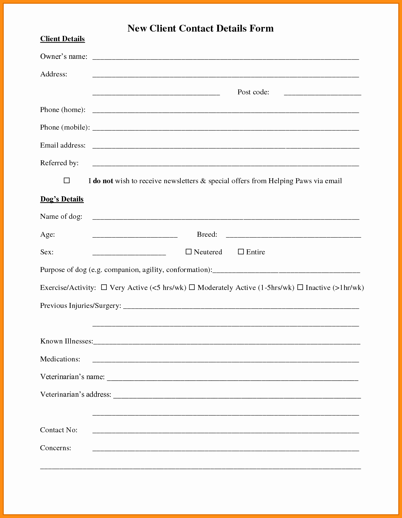 Customer Contact Information form Template Unique 7 Customer Information form Template