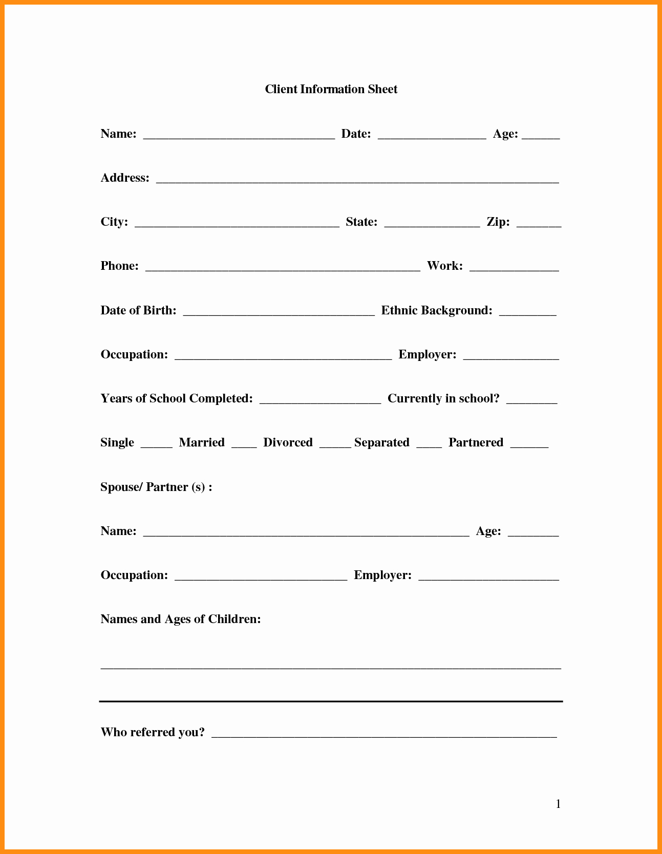 Customer Contact Information form Template Unique 8 Customer Information Template