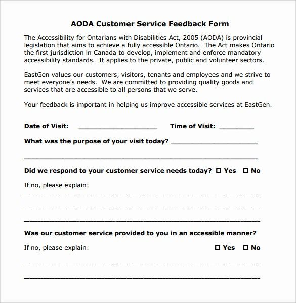 Customer Feedback form Template Word Awesome 12 Service Feedback form Templates to Download for Free