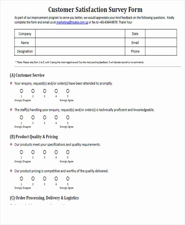 Customer Feedback form Template Word Beautiful 54 Printable Survey forms