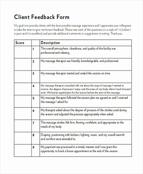 Customer Feedback form Template Word Fresh 8 Sample Client Feedback forms In Word