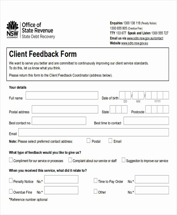 Customer Feedback form Template Word Inspirational 8 Sample Client Feedback forms In Word