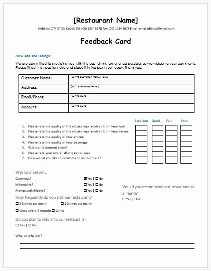 restaurant customer feedback forms