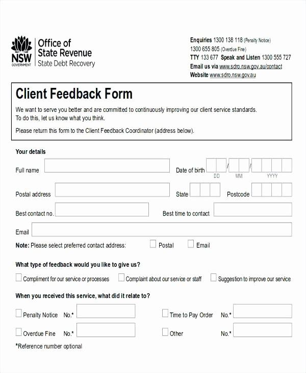 Customer Feedback form Template Word Luxury Service Feedback form Restaurant Sample forms Mental