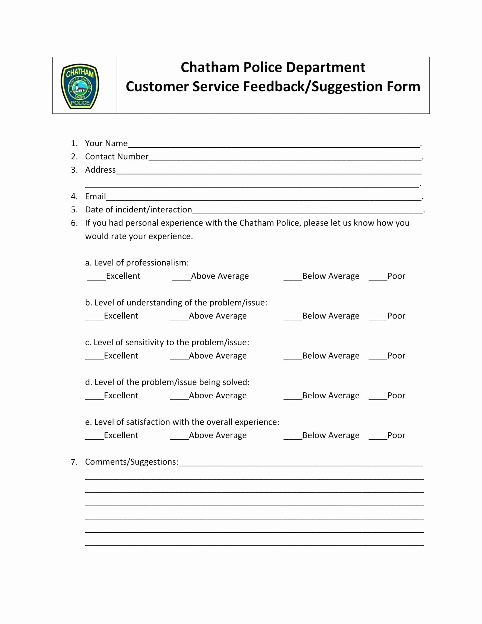 Customer Feedback form Template Word Luxury Template Customer Service Feedback Template