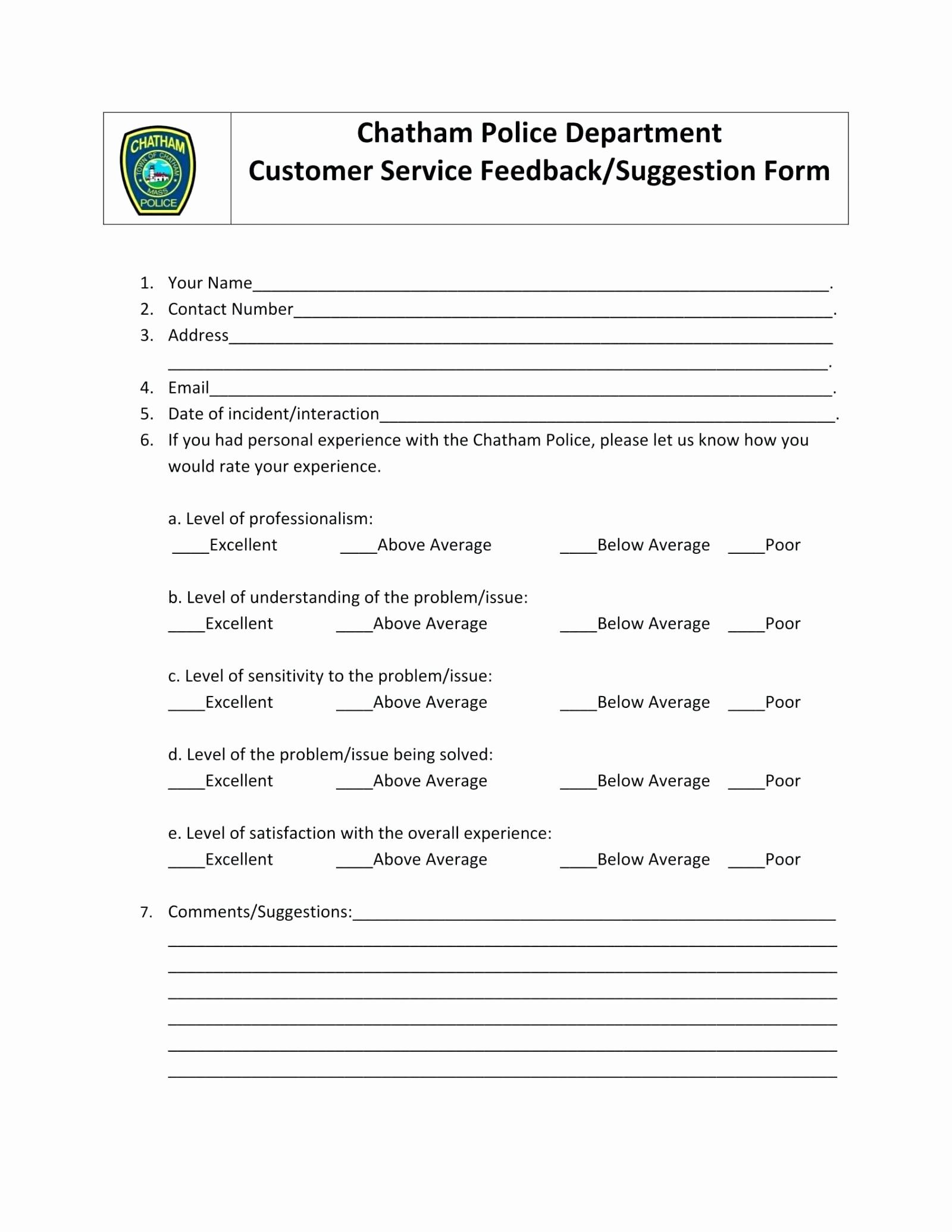 Customer Feedback form Template Word Luxury Template Customer Service Feedback Template