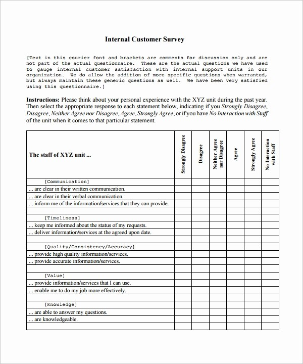 Customer Satisfaction Survey Template Free Elegant 9 Customer Satisfaction Survey Template