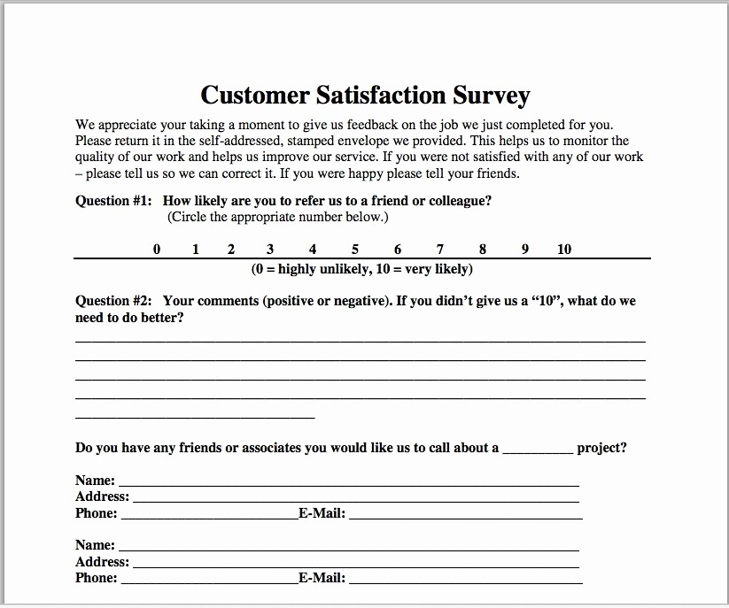 Customer Satisfaction Survey Template Free Inspirational Customer Satisfaction Survey Template Construction