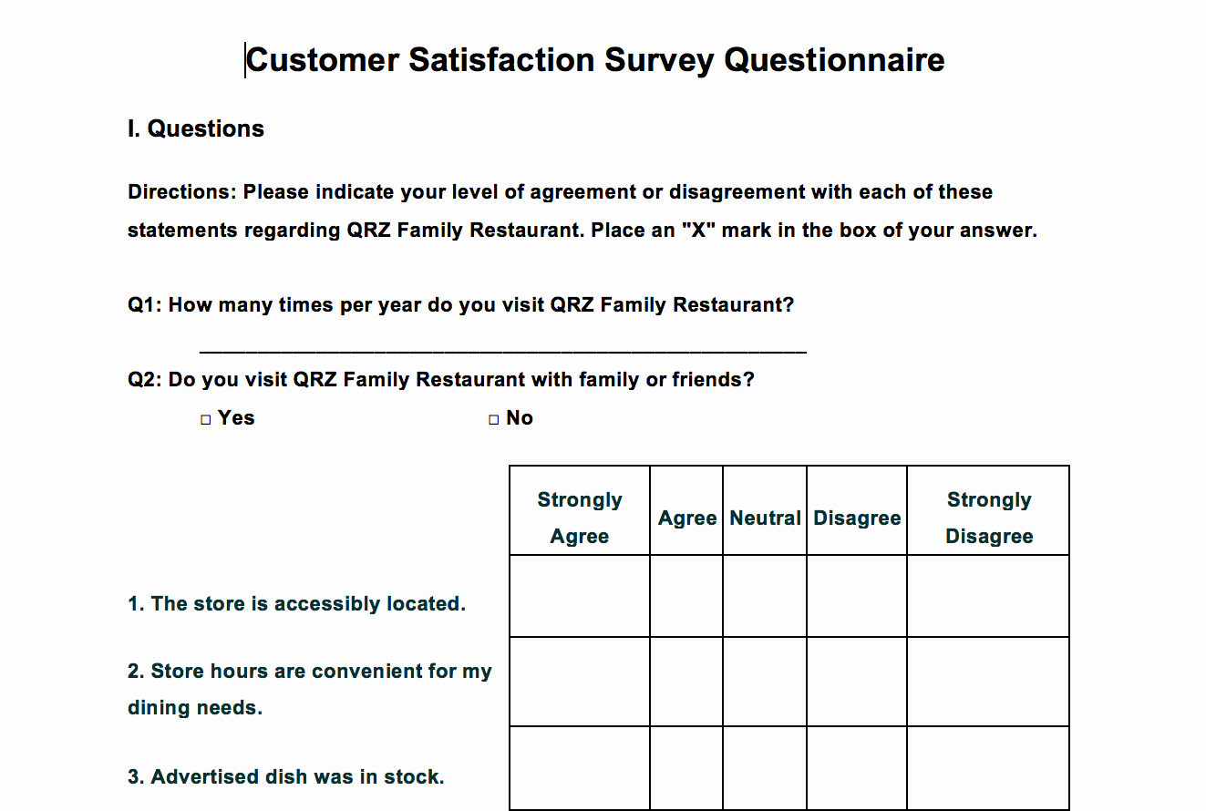 Customer Satisfaction Survey Template Free Luxury Word Survey Templates for Understanding Consumers and Context