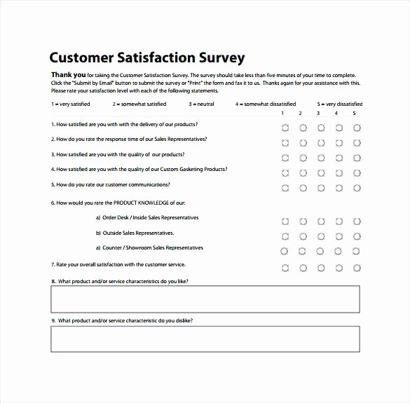 Customer Satisfaction Survey Template Free Unique Customer Satisfaction Survey to Print Free Client