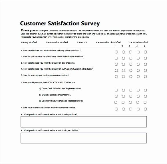 Customer Satisfaction Survey Template Free Unique Customer Satisfaction Survey to Print Free Client