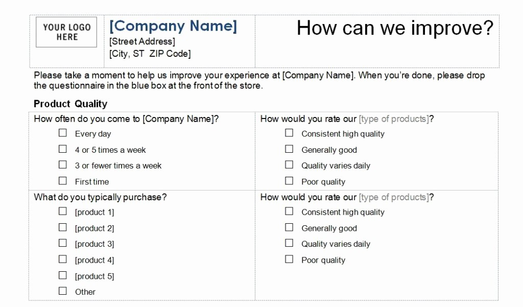 Customer Satisfaction Survey Template Free Unique Customer Service Survey Template Word