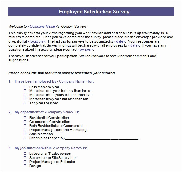 Customer Satisfaction Survey Template Word Awesome Employee Questionnaire Template Word Templates Resume