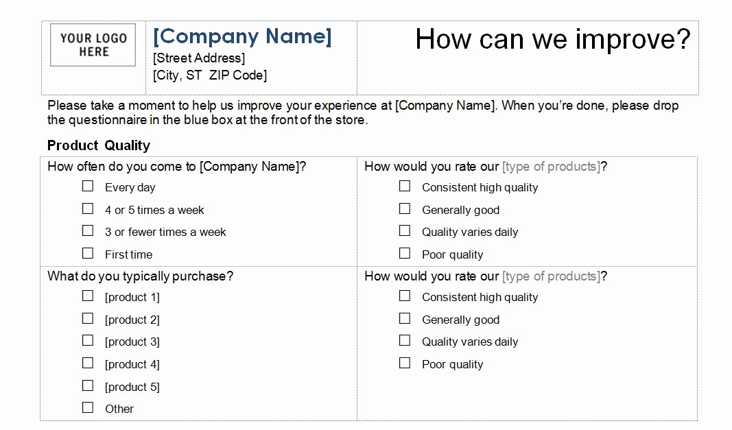 Customer Satisfaction Survey Template Word Best Of Customer Service Survey Template