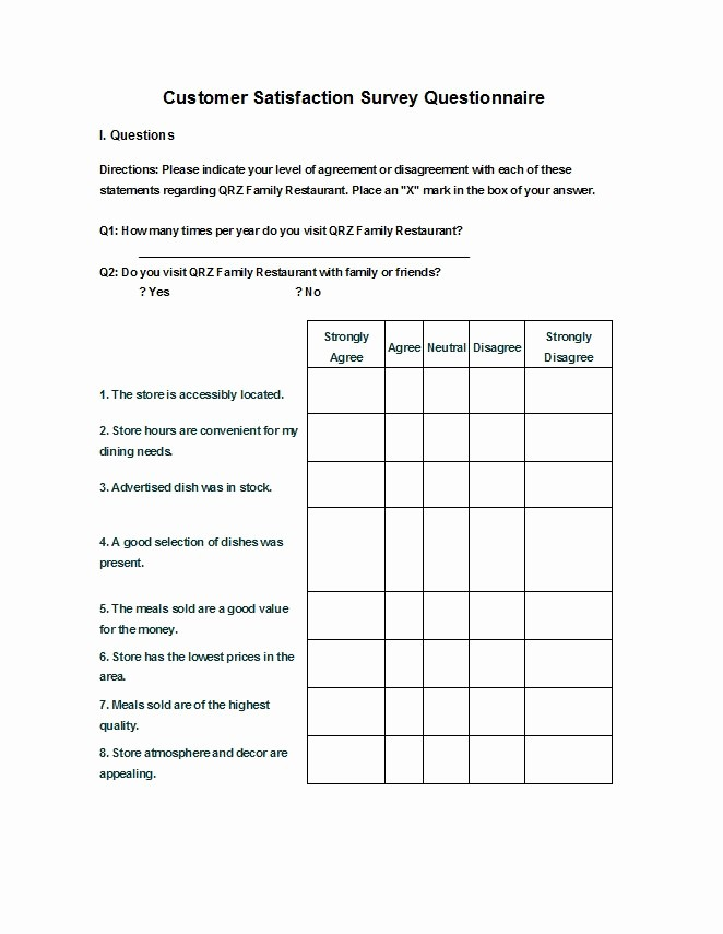 Customer Satisfaction Survey Template Word Lovely Questionnaire Template