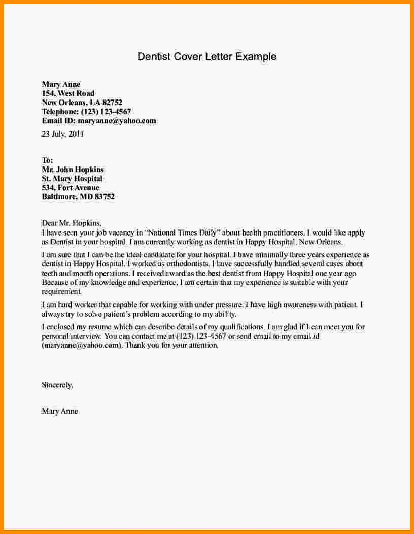 Cv and Cover Letter Template Best Of Cover Letter Examples for Dental Receptionists