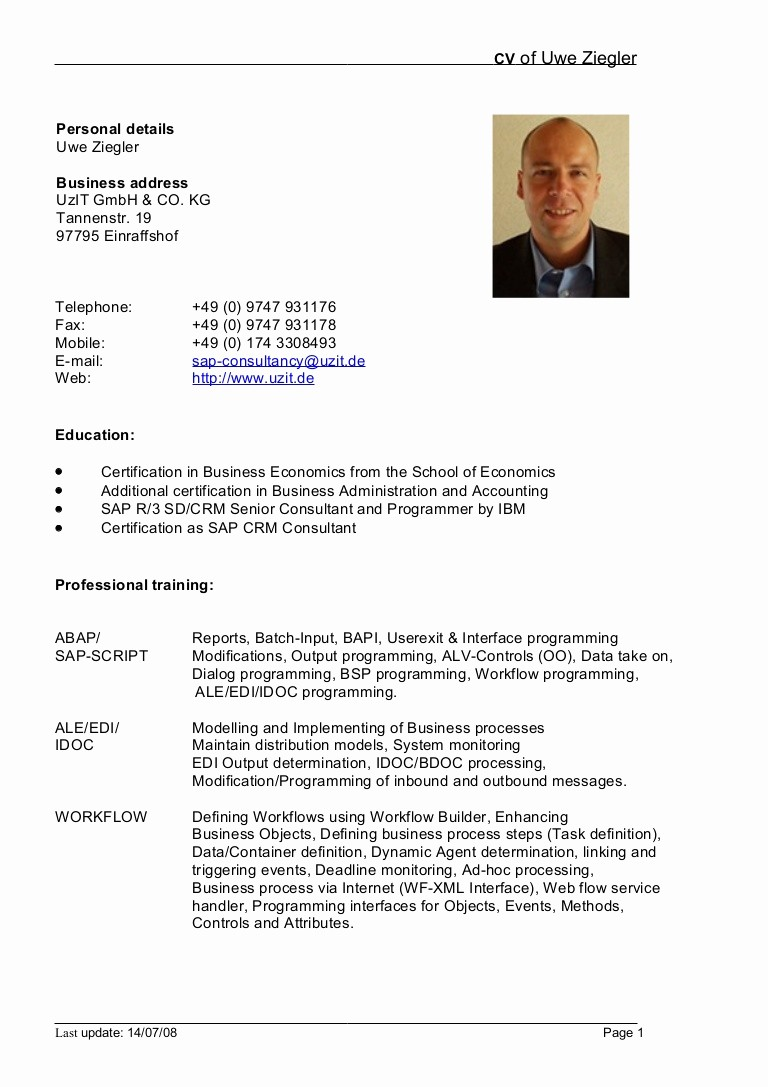 Cv format Samples In Word Awesome German Cv Template Doc