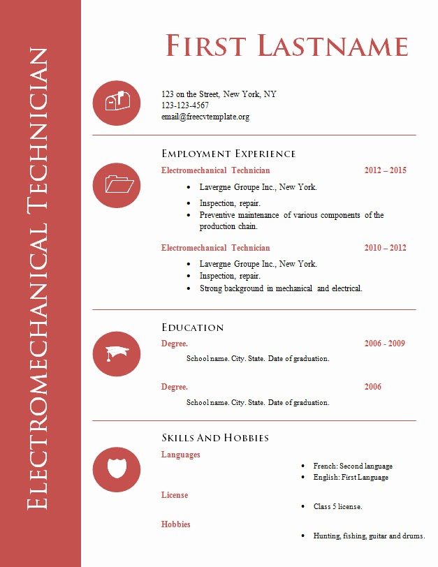 Cv format Samples In Word Beautiful Free Cv Template for Technician 575 to 582 – Free Cv