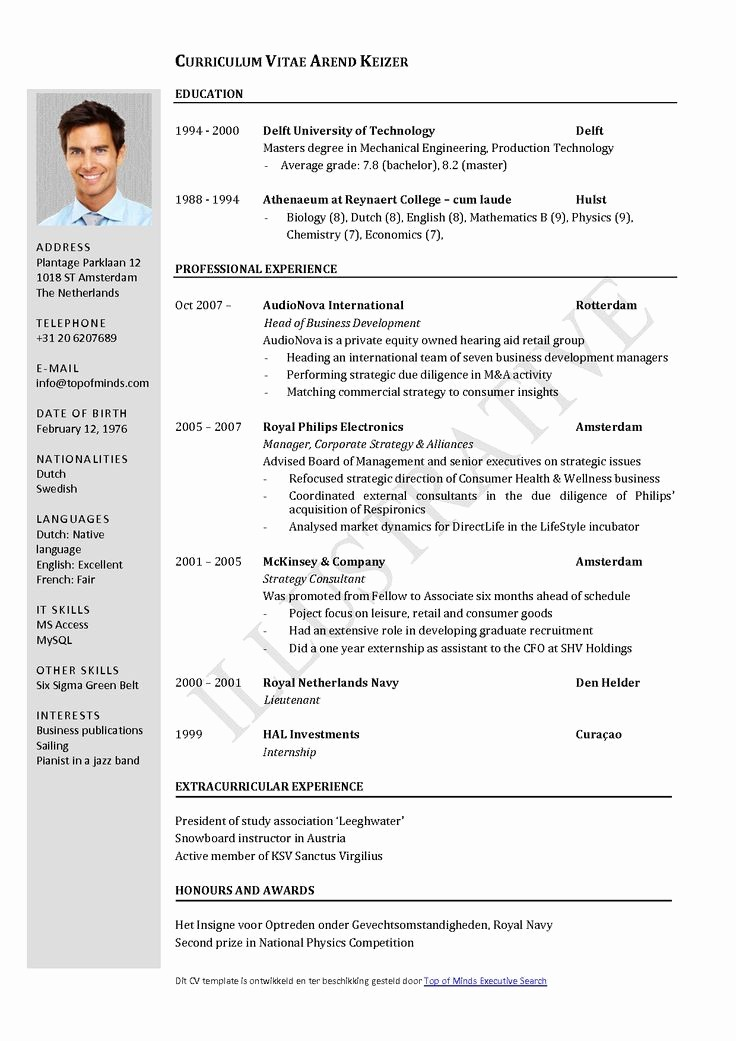 Cv format Samples In Word Best Of Free Curriculum Vitae Template Word Download Cv Template