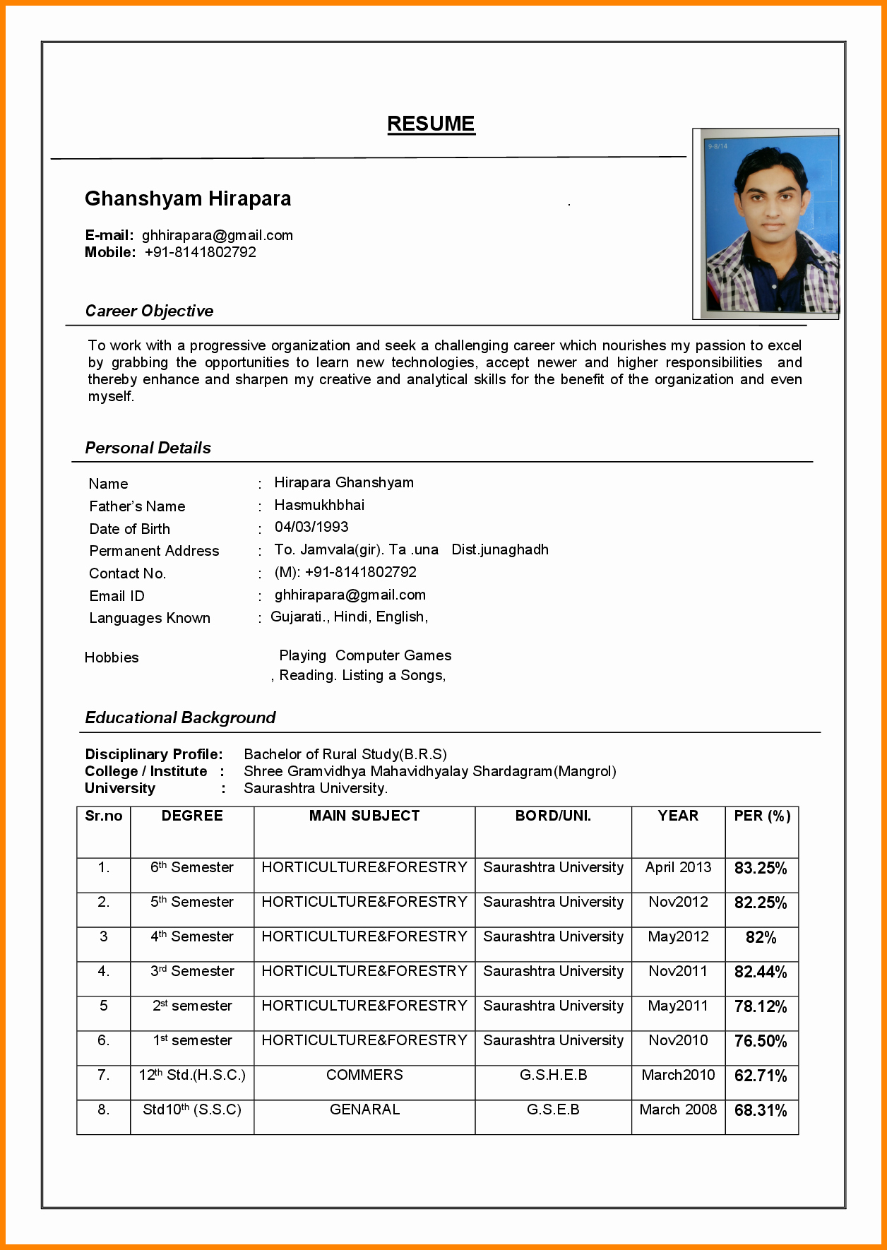 Cv format Samples In Word Elegant 4 Latest Cv format Sample