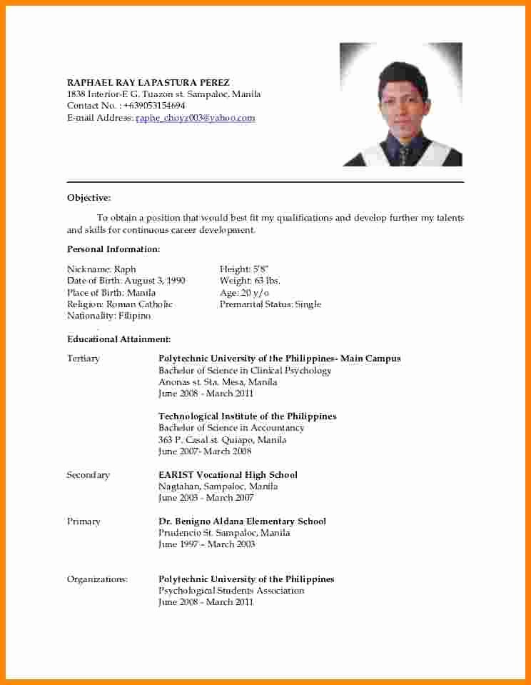 Cv format Samples In Word New 4 Latest Cv format Sample