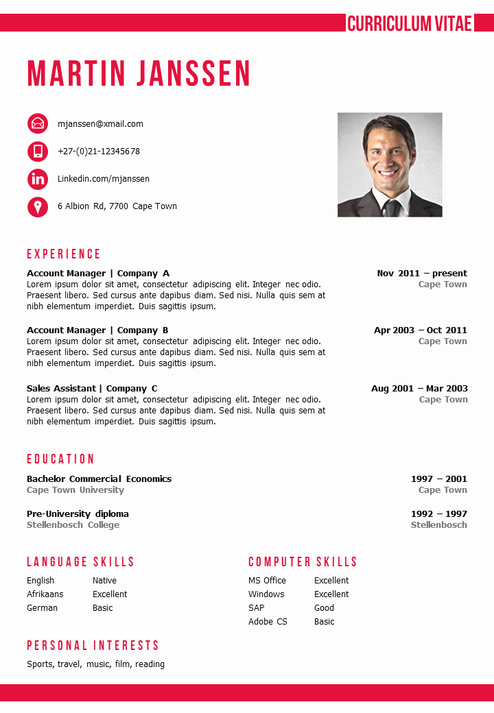 Cv format Samples In Word Unique Cv Template Cape town