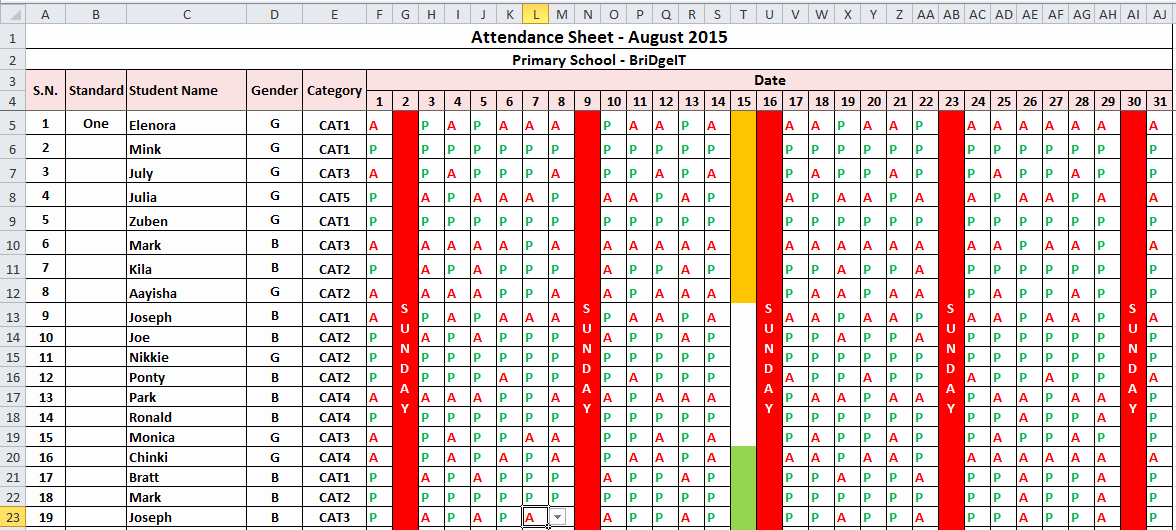 Daily attendance Sheet In Excel Awesome Excel How to Count Students Number On Different